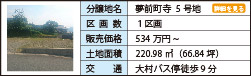 夢前町寺  5号地 1区画 534万円 220.98㎡(66.84坪) 大村バス停徒歩9分